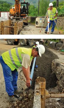 Canalisations réseaux d'eau et assainissement, travaux de VRD